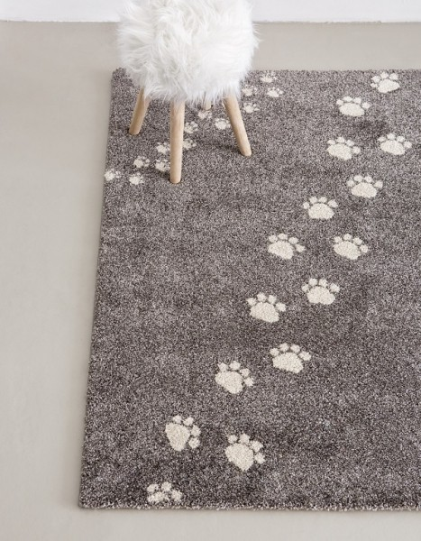 Children S Rug Paw Prints Beige And Grey Heugah Interiors