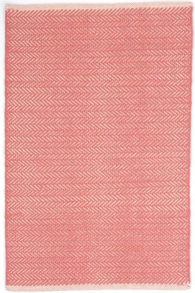 Dash And Albert Cotton Rug Herringbone Coral Heugah