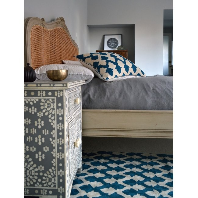 Niki Jones Rug Lattice Crewel Teal Room