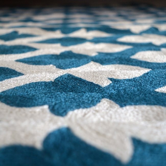 Niki Jones Rug Lattice Crewel Teal Zoom