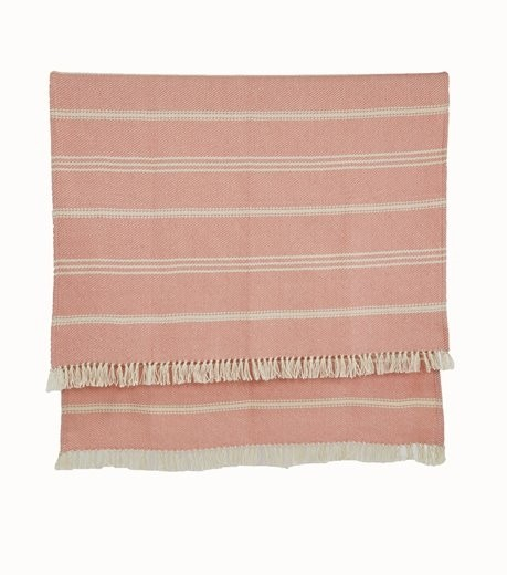 Weaver Green Indoor Outdoor Throw Oxford Stripe Coral