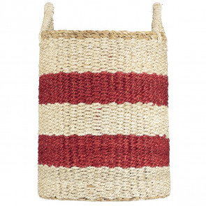 Braided Organic Jute Basket | Laundry Stripe Red