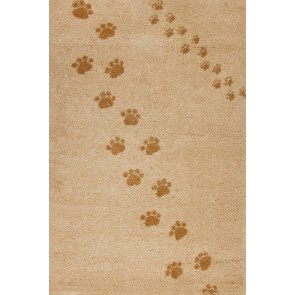 Children's Rug Paw Prints Beige