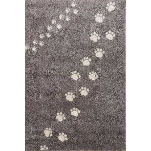 Children's Rug Paw Prints Grey