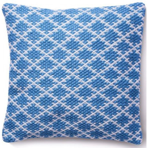 Hug Rug Woven Cushion | Trellis Denim Blue