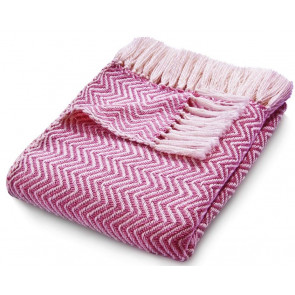 Hug Rug Woven Throw | Herringbone Coral Pink