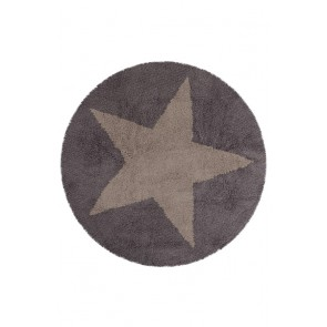 Children's Rug Reversible Star Grey Linen