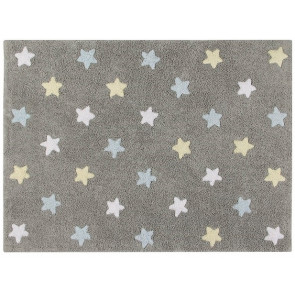 Lorena Canals Rug | Stars Tricolor Grey/Blue