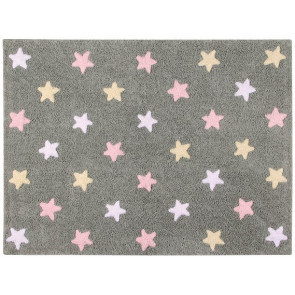 Lorena Canals Rug | Stars Tricolor Grey/Pink