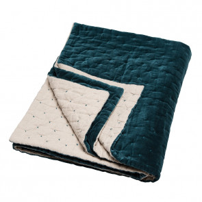 Niki Jones Throw & Quilt | Velvet Linen | Lomond Teal