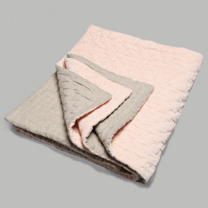 Niki Jones Throw and Quilt Velvet Linen Nude Pink
