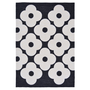 Orla Kiely Rug | Indoor Outdoor | Spot Flower Black