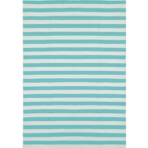 Liv Indoor/Outdoor rugs - Stripe - Turquoise/white - 55cm x 120cm