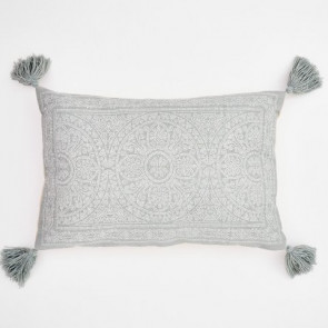 Weaver Green Cushion Kas Dove Grey