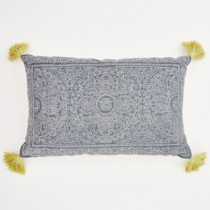Weaver Green Cushion Kas Navy & Gooseberry