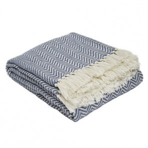 Weaver Green Throw Herringbone Navy