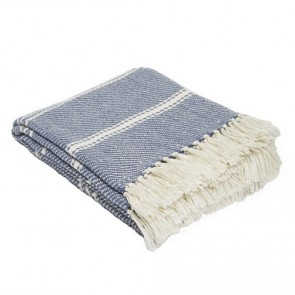 Weaver Green Throws Oxford Stripe Navy